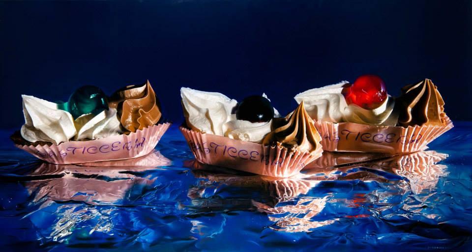 """America 1942"" by Luigi Benedicenti Oil on wood, 42,5'' x 79''"