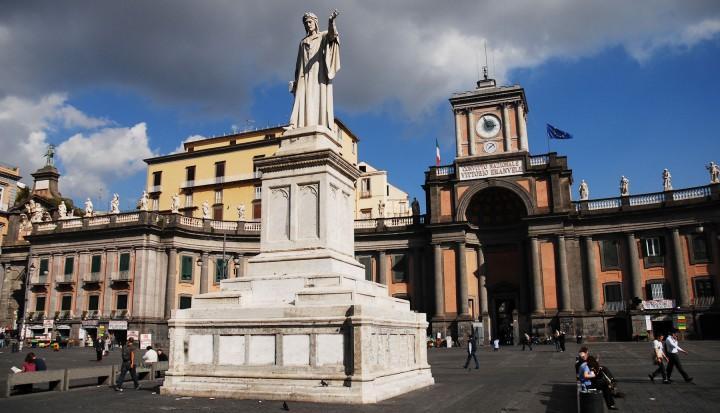 Monument of Dante Alighieri in Piazza Dante Napoli. Campania, Italy, South Europe.