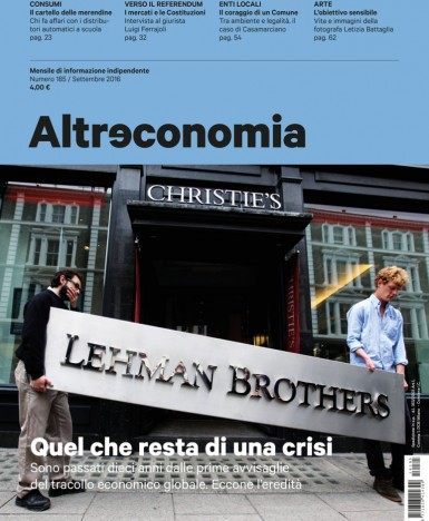 Esce Altreconomia di settembre 2016: Quel che resta della crisi