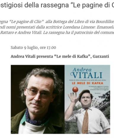 """Cernusco sul Naviglio, presentazione del libro """"Le mele di Kafka"""" (Garzanti), di Andrea Vitali"""