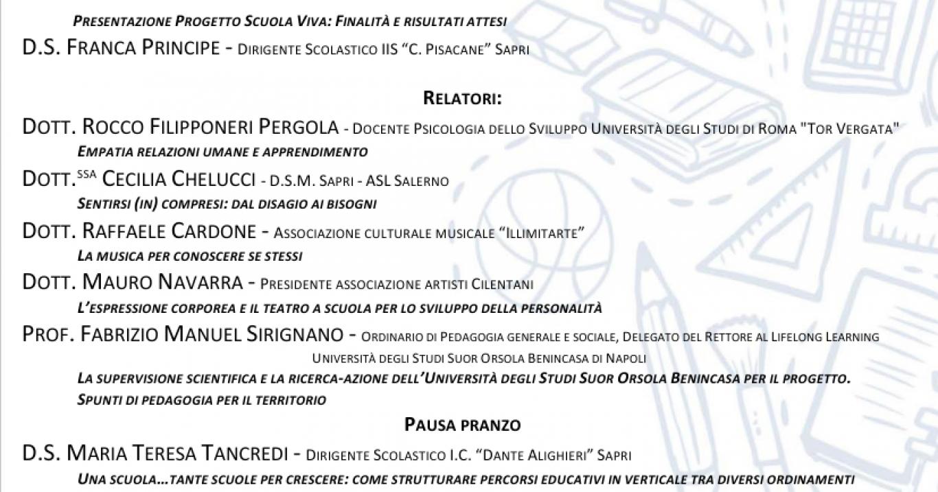 """Sapri (SA), IIS Pisacane: presentazione di """"Comunico … ergo sum"""", progetto """"Scuola Viva"""""""